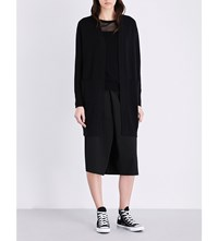 Izzue Longline Knitted Open Front Cardigan Black