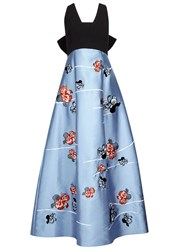 Noir Sachin And Babi Paola Floral Embroidered Satin Gown Light Blue