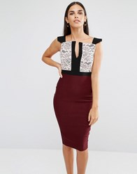 Vesper Pencil Dress With Lace Top And Notch Neckline Berry Red