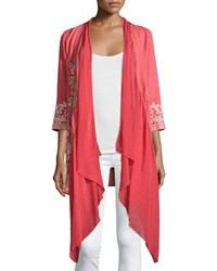 Johnny Was Michaela Draped Front Embroidered Cardigan Dusty Coral