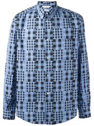 Golden Goose Deluxe Brand Pixelated Check Shirt Blue