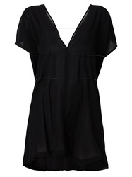 Ann Demeulemeester Ruched Front Sleeve Detail Tulle Blouse Black
