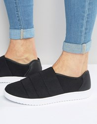 Asos Trainers In Black With Elastic Black