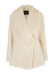 Jane Norman Ivory Faux Fur Waterfall Coat
