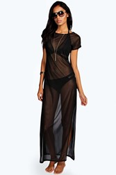Boohoo Beach Mesh Side Split Maxi Tshirt Black