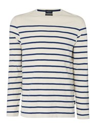 Howick Cherbourg Jersey Striped Tee Almond Cream