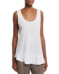 Xcvi Edina Satin Trim Slub Tank Top White Women's