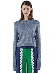 Bobby Kolade Cropped Contrast Knit Sweater Navy