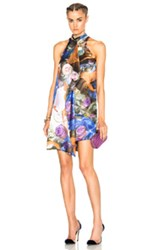 Christopher Kane Printed Front Drape Dress In Blue Floral Blue Floral