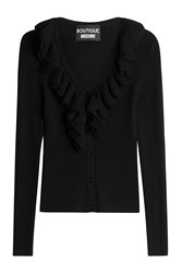 Boutique Moschino Ribbed Knit Cardigan With Ruffle Collar Black