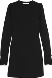 See By Chloe Loop Detailed Stretch Crepe Mini Dress Black
