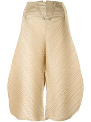 Issey Miyake Pleats Please By Pleated Oversized Trousers Nude Neutrals