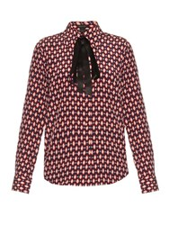 Marc Jacobs Diamond Print Crepe De Chine Shirt Red Print