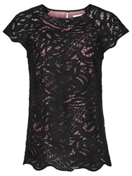 Reiss Sol Lace Top Black Rose Pink