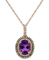 Macy's Amethyst 2 1 4 Ct. T.W. And Diamond 1 3 Ct. T.W. Pendant Necklace In 14K Rose Gold