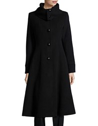 George Simonton Wool And Cashmere Blend Long A Line Coat Black