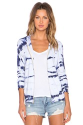 Monrow Bamboo Tie Dye Hoodie Blue