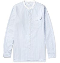 Chimala Grandad Collar Striped Cotton Oxford Shirt Sky Blue