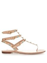 Valentino Rockstud Rolling Leather Flat Sandals Beige