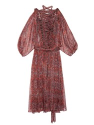 Zimmermann Empire Palmette Print Silk Chiffon Midi Dress