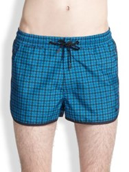 Marc By Marc Jacobs Houndstooth Swim Trunks Aquamarine
