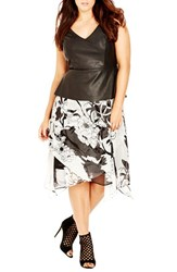 Plus Size Women's City Chic 'Peplum Passion' Mixed Media Dress