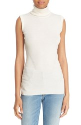 Diane Von Furstenberg Women's 'Sutton' Sleeveless Merino Wool And Silk Turtleneck Canvas White