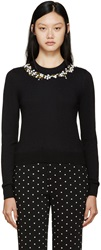 Givenchy Black Cashmere Flower Embroidered Sweater