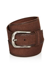 John Varvatos Star Usa Textured Suede Stitch Belt Chocolate