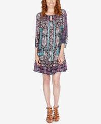 Lucky Brand Printed Shift Dress Navy Multi