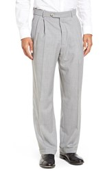 Men's Big And Tall Ballin Pleated Solid Wool Trousers Pearl Grey