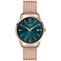 Henry London Hl39 M 0136 Women's Stratford Date Bracelet Strap Watch Rose Gold Teal