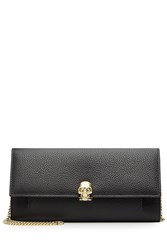 Alexander Mcqueen Embellished Leather Wallet With Chain Strap Black