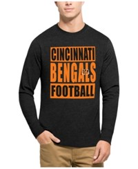 47 Brand '47 Men's Cincinnati Bengals Compton Club Long Sleeve T Shirt Heather Black Orange