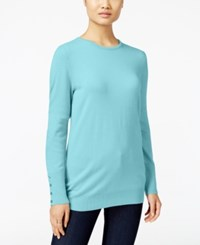 Jm Collection Crew Neck Button Cuff Sweater Only At Macy's Angel Blue