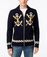 Tommy Hilfiger Men's Naval Themed Zip Front Cardigan Navy