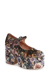 Jeffrey Campbell 'Naya' Mary Jane Platform Pump Women Brown Floral Velvet