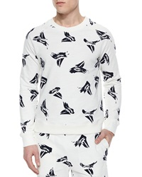 Band Of Outsiders Sailboat Print Crewneck Sweater White Multi