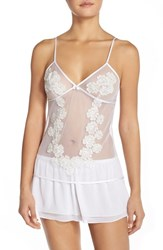 Women's Flora Nikrooz 'Gigi' Mesh Camisole And Tap Shorts Winter White