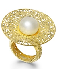 Macy's Cultured Freshwater Pearl Flower Ring In 18K Gold Over Sterling Silver 11Mm