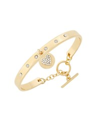 Bcbgeneration Say My Name Glass Stone Heart Toggle Bracelet Gold