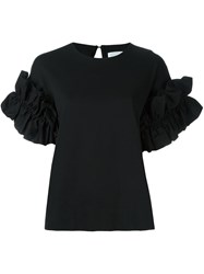 Victoria Beckham Ruched Sleeve T Shirt Black