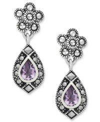 Genevieve And Grace Sterling Silver Earrings Amethyst 5 8 Ct. T.W. And Marcasite Teardrop Earrings