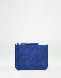 Warehouse Suede Embossed Zip Top Clutch Blue