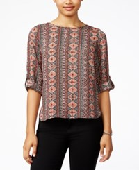 Hippie Rose Juniors' Printed Roll Tab Blouse Black Combo