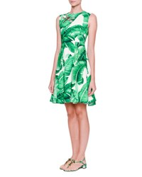 Dolce And Gabbana Sleeveless Banana Leaf Dress W Bee Embellishment Foglie Banano F.B