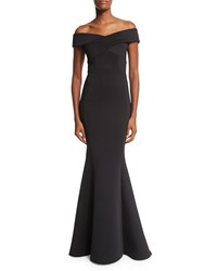 Rachel Gilbert Off The Shoulder Knit Mermaid Gown Black Women's Size 2