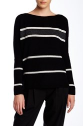 Vince Striped Boatneck Wool Blend Pullover Black