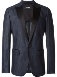 Dsquared2 Contrast Lapel Denim Blazer Blue