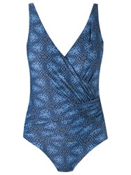 Lygia And Nanny V Neck Printed Swimsuit Blue